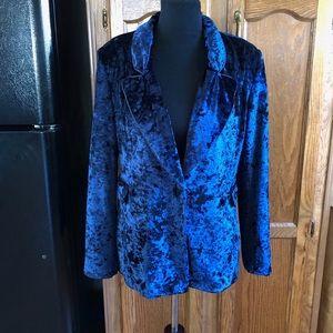 Boohoo Blue Crushed Velvet Blazer Size 8